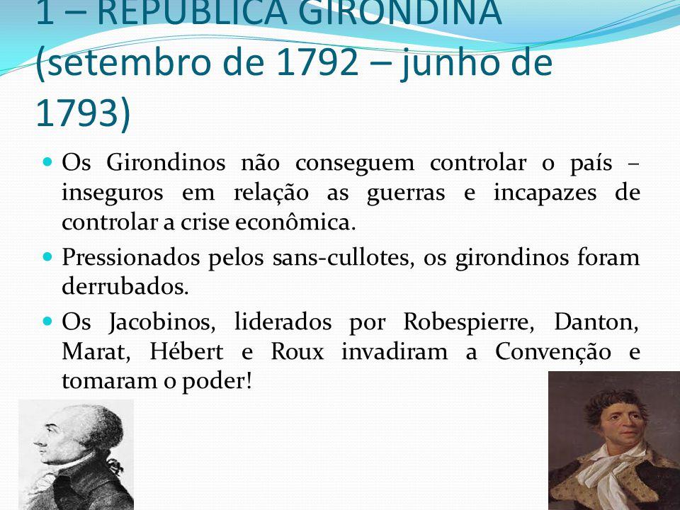 1 – REPÚBLICA GIRONDINA (setembro de 1792 – junho de 1793) Os Girondinos não conseguem controlar o país – inseguros em relação as guerras e incapazes