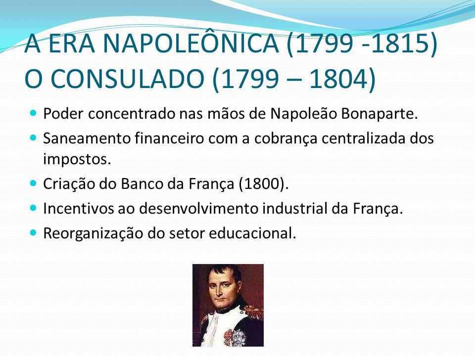 A ERA NAPOLEÔNICA (1799 -1815) O CONSULADO (1799 – 1804) Poder concentrado nas mãos de Napoleão Bonaparte. Saneamento financeiro com a cobrança centra