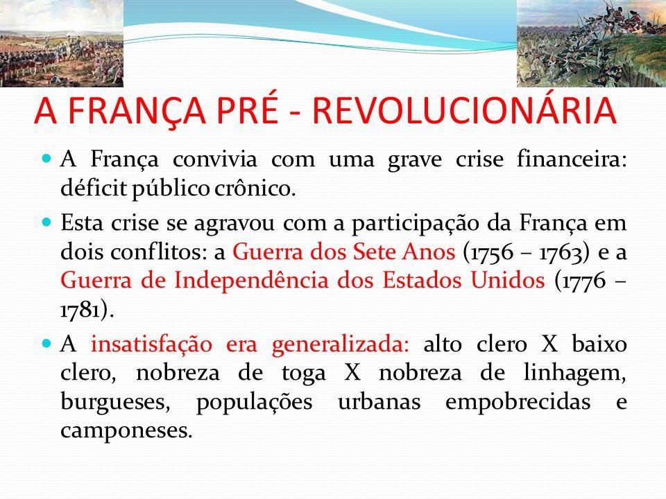 A FRANÇA PRÉ - REVOLUCIONÁRIA A França convivia com uma grave crise financeira: déficit público crônico. Esta crise se agravou com a participação da F
