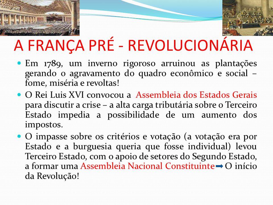 A FRANÇA PRÉ - REVOLUCIONÁRIA Em 1789, um inverno rigoroso arruinou as plantações gerando o agravamento do quadro econômico e social – fome, miséria e