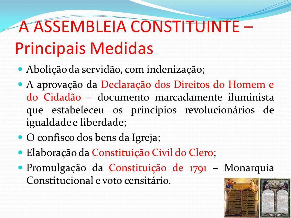 A ASSEMBLEIA CONSTITUINTE – Principais Medidas Abolição da servidão, com indenização; A aprovação da Declaração dos Direitos do Homem e do Cidadão – d