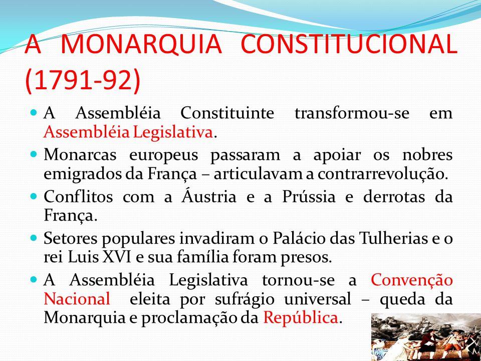 A MONARQUIA CONSTITUCIONAL (1791-92) A Assembléia Constituinte transformou-se em Assembléia Legislativa. Monarcas europeus passaram a apoiar os nobres