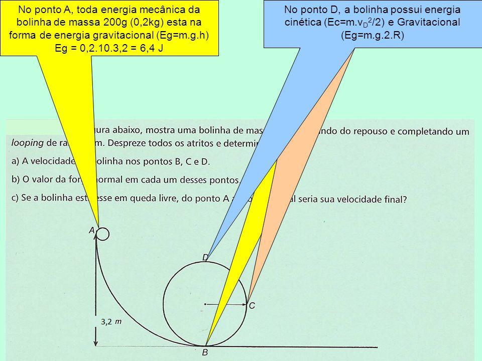 No ponto B, a bolinha de massa 200g (0,2kg) só possui energia cinética (Ec=m.v B 2 /2) No ponto C, a bolinha possui energia cinética (Ec=m.v C 2 /2) e Gravitacional (Eg=m.g.R) No ponto D, a bolinha possui energia cinética (Ec=m.v D 2 /2) e Gravitacional (Eg=m.g.2.R) No ponto A, toda energia mecânica da bolinha de massa 200g (0,2kg) esta na forma de energia gravitacional (Eg=m.g.h) Eg = 0,2.10.3,2 = 6,4 J