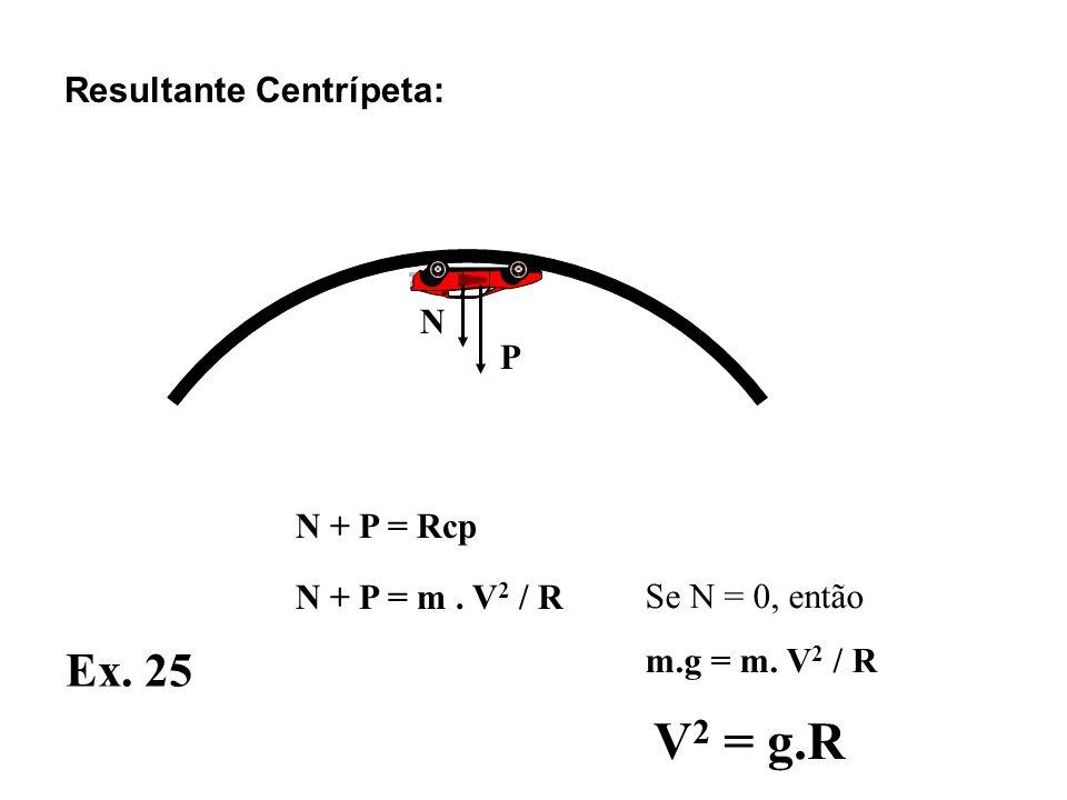 N P N + P = Rcp N + P = m.V 2 / R Resultante Centrípeta: Ex.