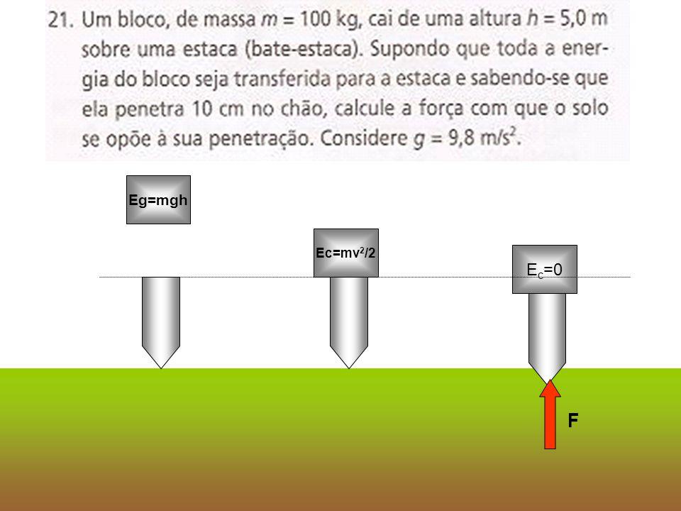 Eg=mgh Ec=mv 2 /2 E c =0 F