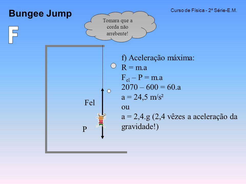 Bungee Jump Curso de Física - 2ª Série-E.M. f) Aceleração máxima: R = m.a F el – P = m.a 2070 – 600 = 60.a a = 24,5 m/s² ou a = 2,4.g (2,4 vêzes a ace