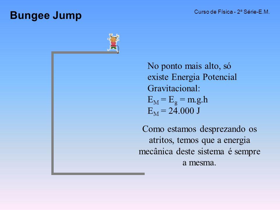 Bungee Jump Curso de Física - 2ª Série-E.M. No ponto mais alto, só existe Energia Potencial Gravitacional: E M = E g = m.g.h E M = 24.000 J Como estam