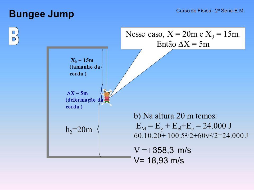 Bungee Jump Curso de Física - 2ª Série-E.M. b) Na altura 20 m temos: E M = E g + E el +E c = 24.000 J 60.10.20+ 100.5²/2+60v²/2=24.000 J V = 358,3 m/s