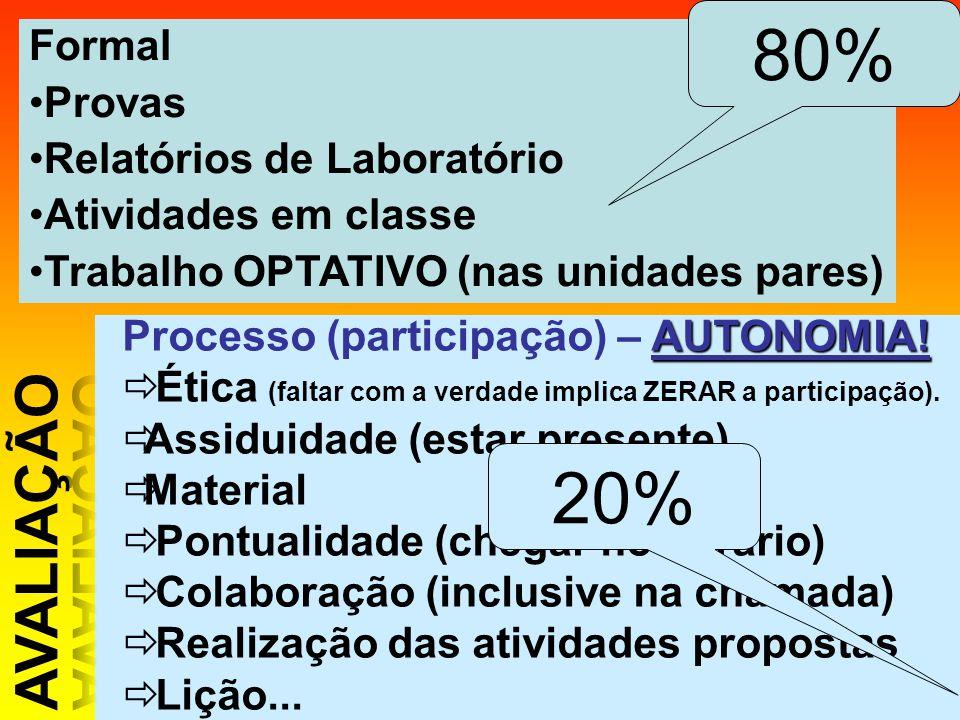 Formal Provas Relatórios de Laboratório Atividades em classe Trabalho OPTATIVO (nas unidades pares) AUTONOMIA! Processo (participação) – AUTONOMIA! Ét