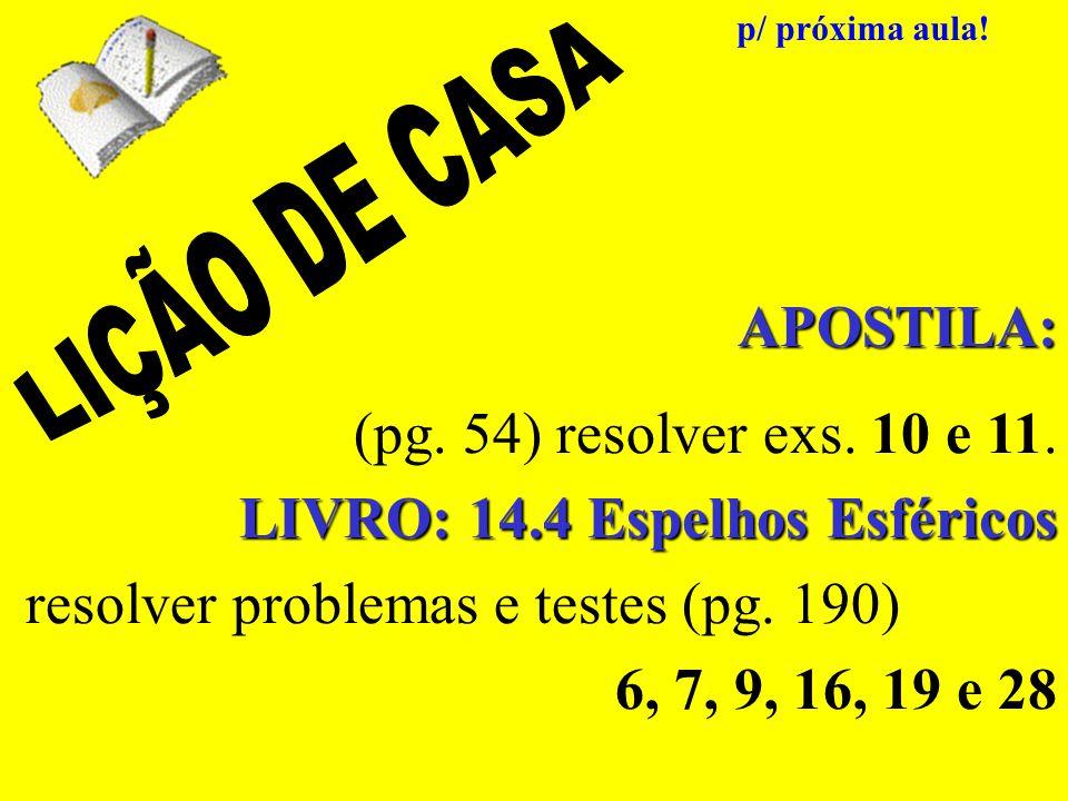 APOSTILA: (pg. 54) resolver exs. 10 e 11. LIVRO: 14.4 Espelhos Esféricos resolver problemas e testes (pg. 190) 6, 7, 9, 16, 19 e 28 p/ próxima aula!