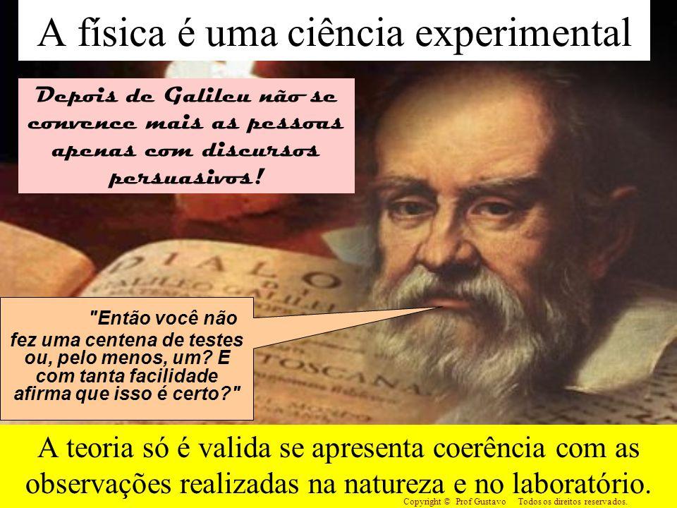 A física é uma ciência experimental A teoria só é valida se apresenta coerência com as observações realizadas na natureza e no laboratório. Copyright