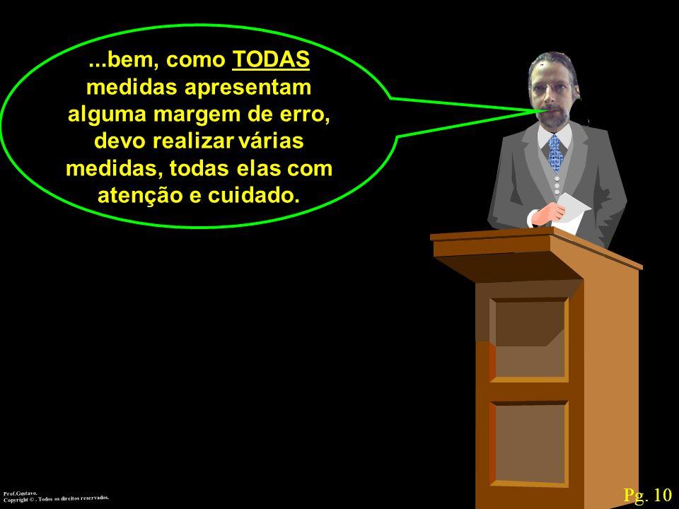 Prof.Gustavo.Copyright ©. Todos os direitos reservados....bem, como TODAS medidas apresentam alguma margem de erro, devo realizar várias medidas, toda