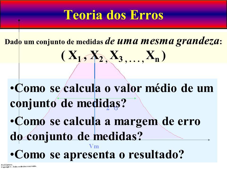 Teoria dos Erros Vm 2 Dado um conjunto de medidas de uma mesma grandeza : ( X 1, X 2, X 3,..., X n ) Como se calcula o valor médio de um conjunto de m