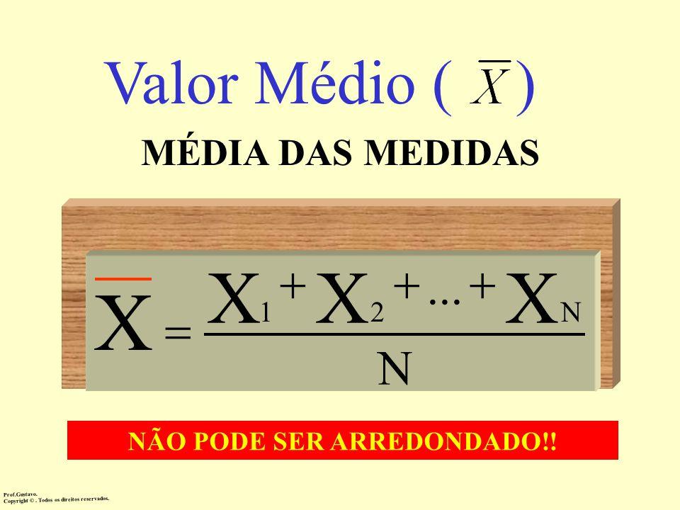 Valor Médio ( ) MÉDIA DAS MEDIDAS N XXX... N21 X Prof.Gustavo.Copyright ©. Todos os direitos reservados. NÃO PODE SER ARREDONDADO!!