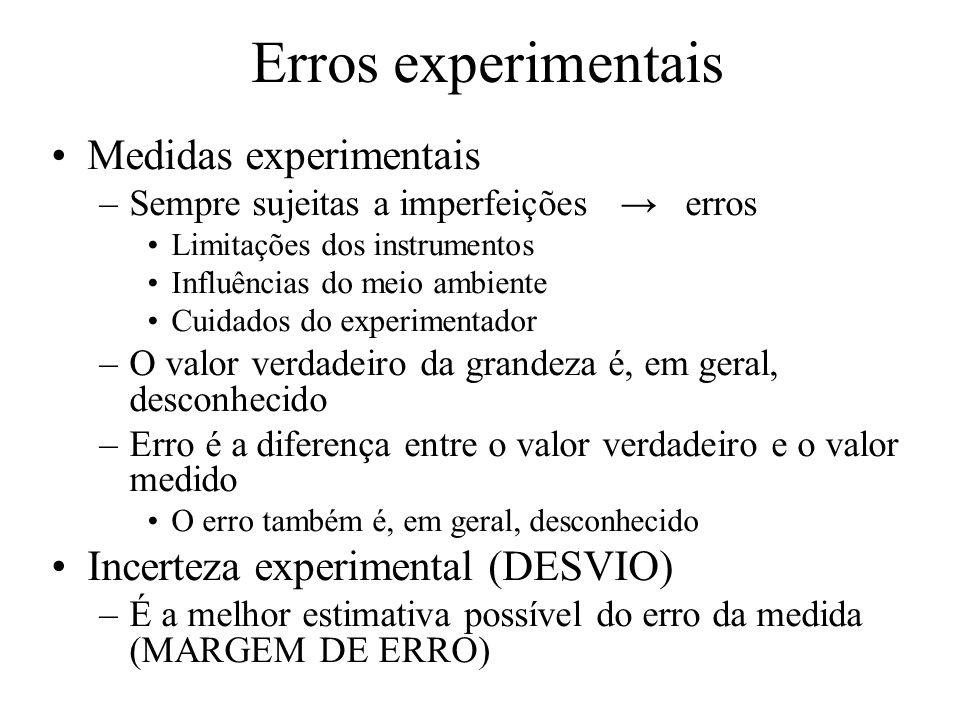 Erros experimentais Medidas experimentais –Sempre sujeitas a imperfeições erros Limitações dos instrumentos Influências do meio ambiente Cuidados do e