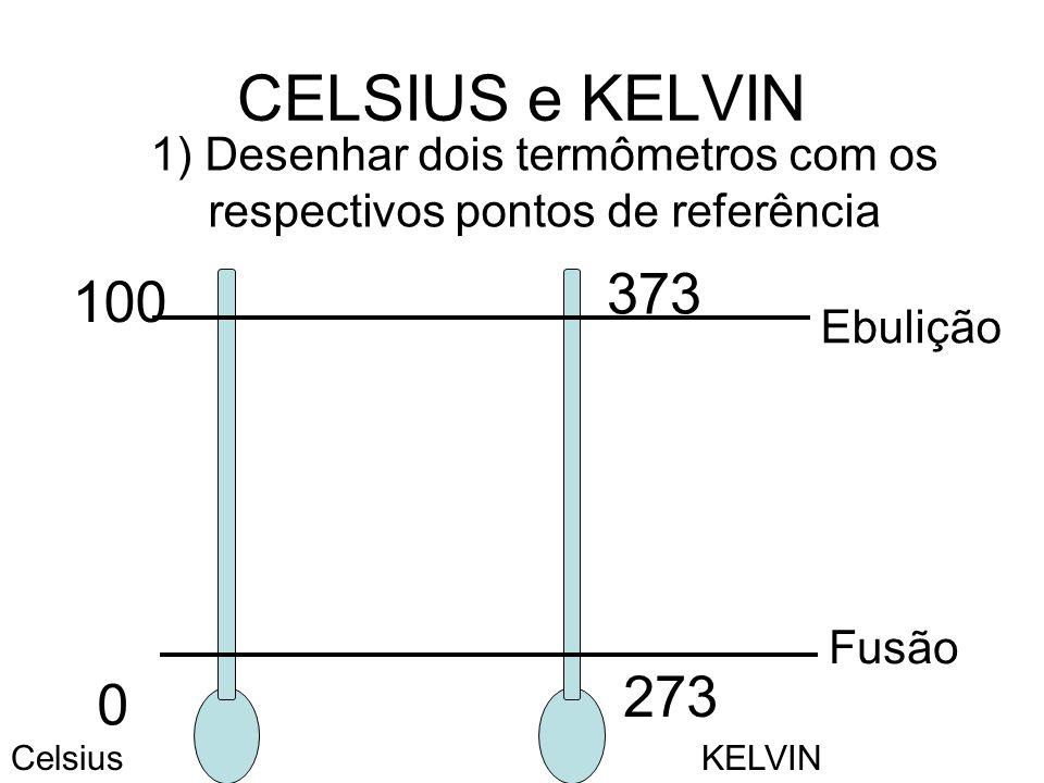 CELSIUS e KELVIN 1) Desenhar dois termômetros com os respectivos pontos de referência Fusão 0 273 Ebulição 100 373 CelsiusKELVIN