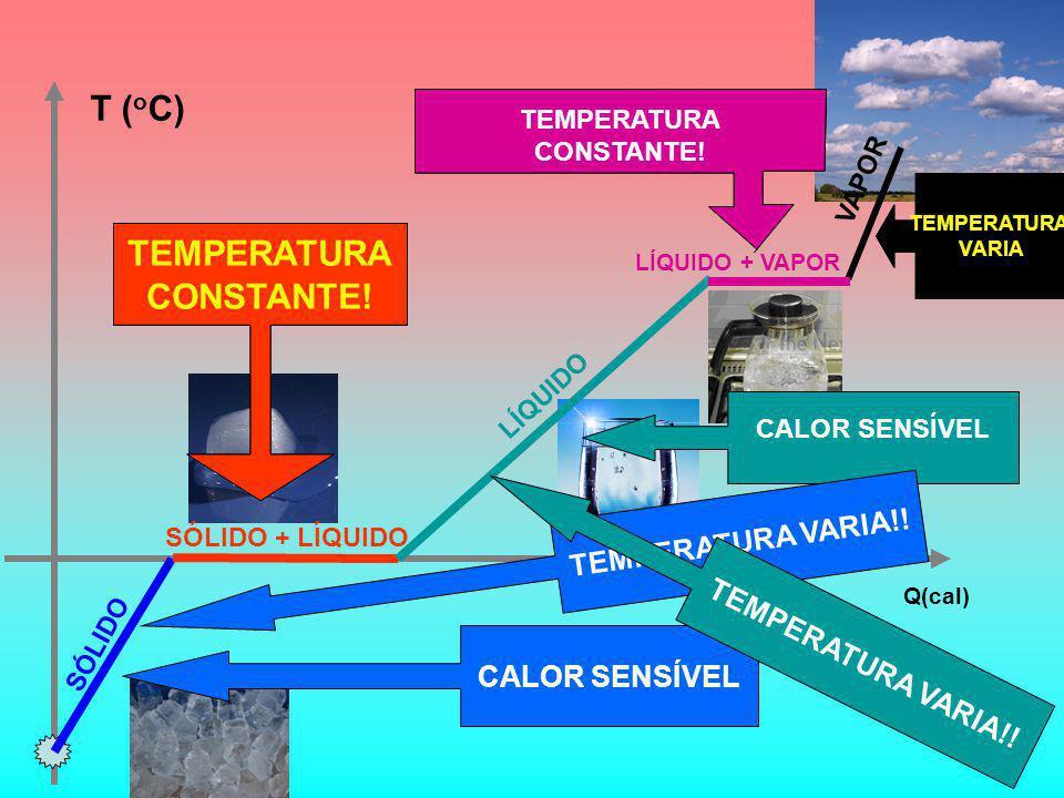 T ( o C) Q(cal) CALOR SENSÍVEL CALOR LATENTE CALOR SENSÍVEL CALOR SENSÍVEL SÓLIDO SÓLIDO + LÍQUIDO LÍQUIDO VAPOR LÍQUIDO + VAPOR CALOR LATENTE TEMPERATURA VARIA!.
