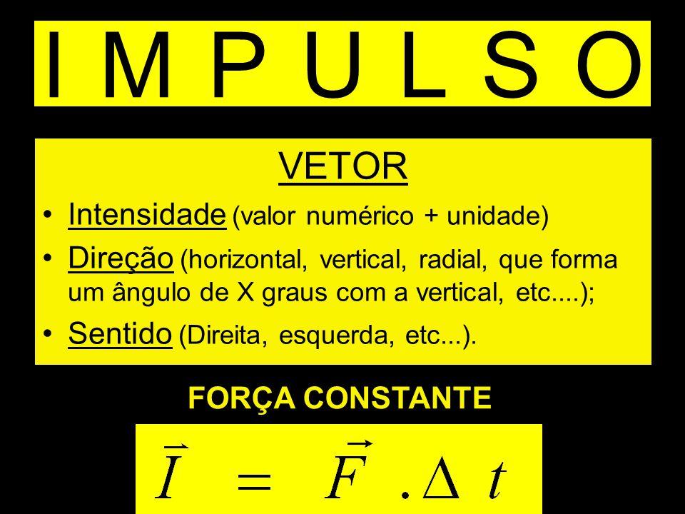IMPULSO VETOR Intensidade (valor numérico + unidade) Direção (horizontal, vertical, radial, que forma um ângulo de X graus com a vertical, etc....); S