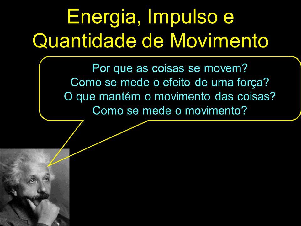 Energia, Impulso e Quantidade de Movimento Por que as coisas se movem? Como se mede o efeito de uma força? O que mantém o movimento das coisas? Como s