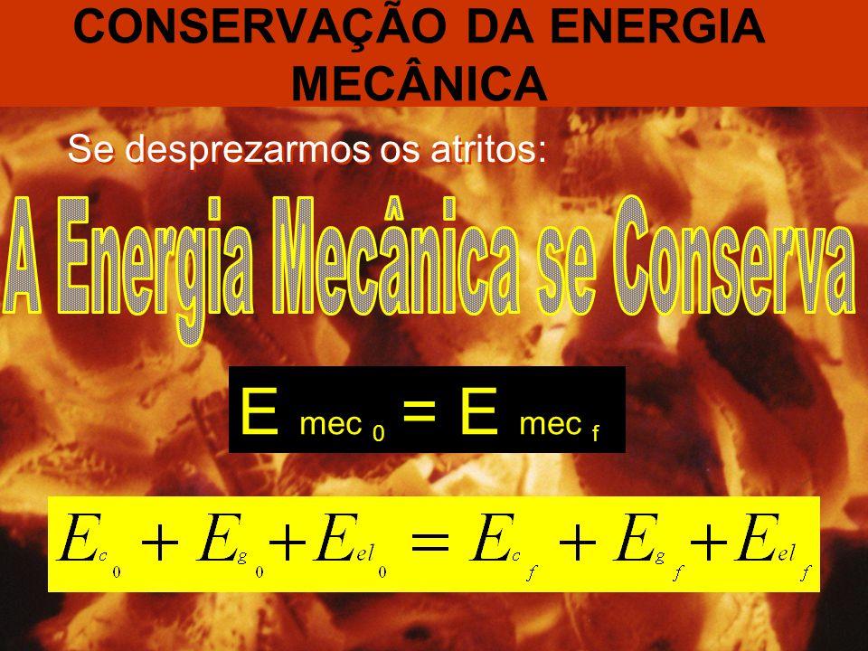 CONSERVAÇÃO DA ENERGIA MECÂNICA Se desprezarmos os atritos: E mec 0 = E mec f