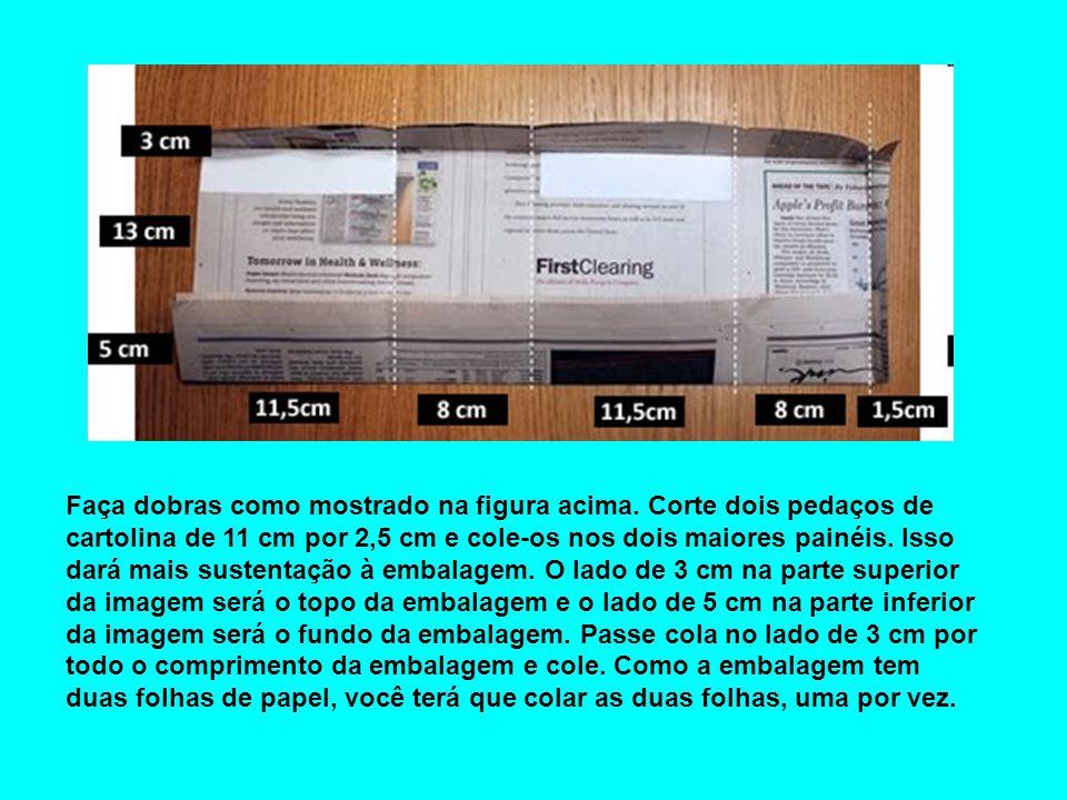 Faça dobras como mostrado na figura acima. Corte dois pedaços de cartolina de 11 cm por 2,5 cm e cole-os nos dois maiores painéis. Isso dará mais sust
