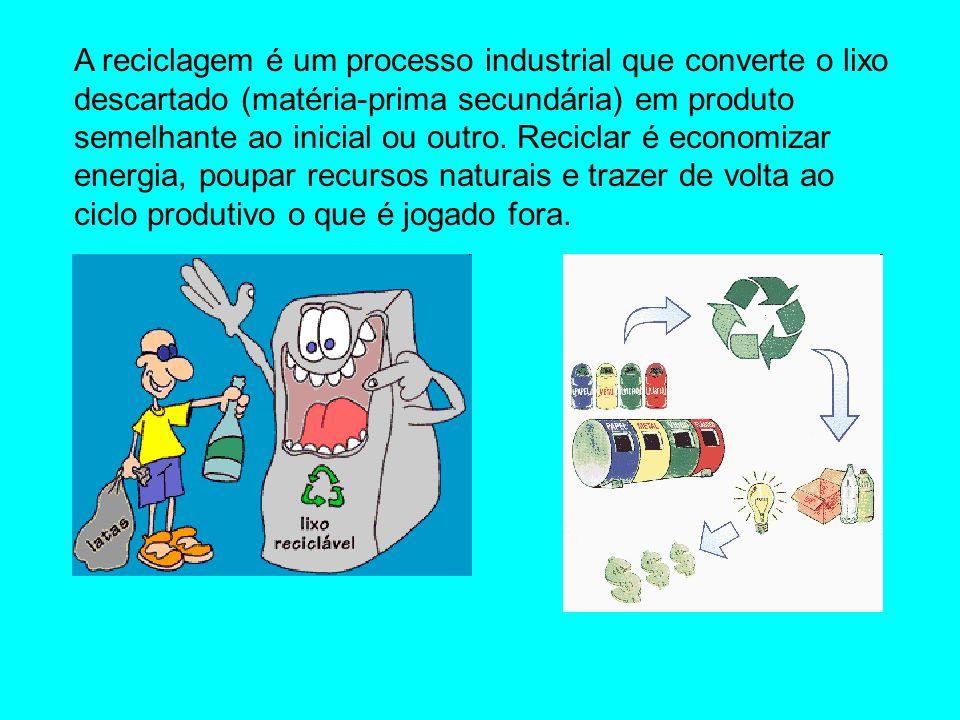 A reciclagem é um processo industrial que converte o lixo descartado (matéria-prima secundária) em produto semelhante ao inicial ou outro. Reciclar é