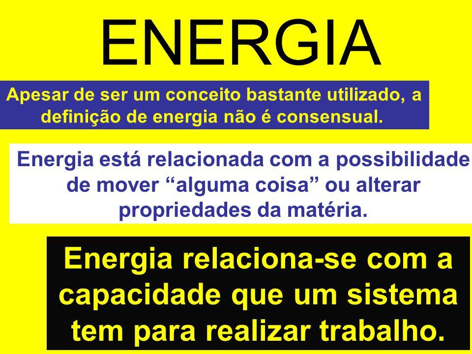 ENERGIA Energia relaciona-se com a capacidade que um sistema tem para realizar trabalho. Apesar de ser um conceito bastante utilizado, a definição de
