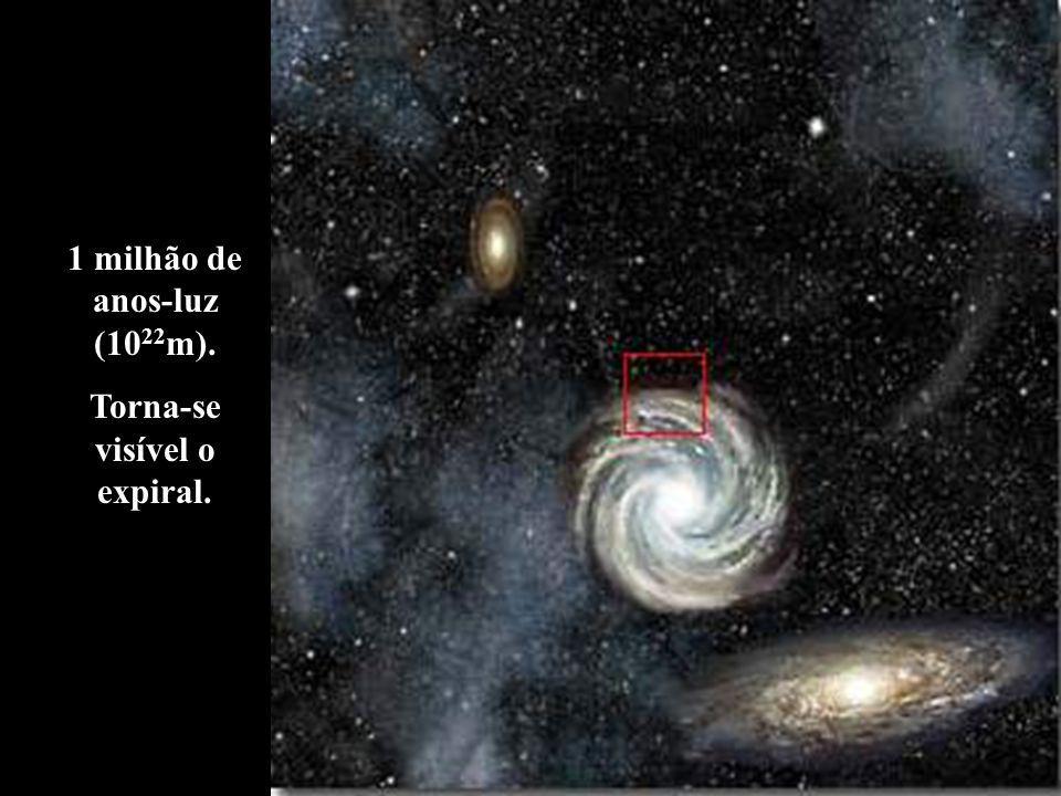 1 milhão de anos-luz (10 22 m). Torna-se visível o expiral.