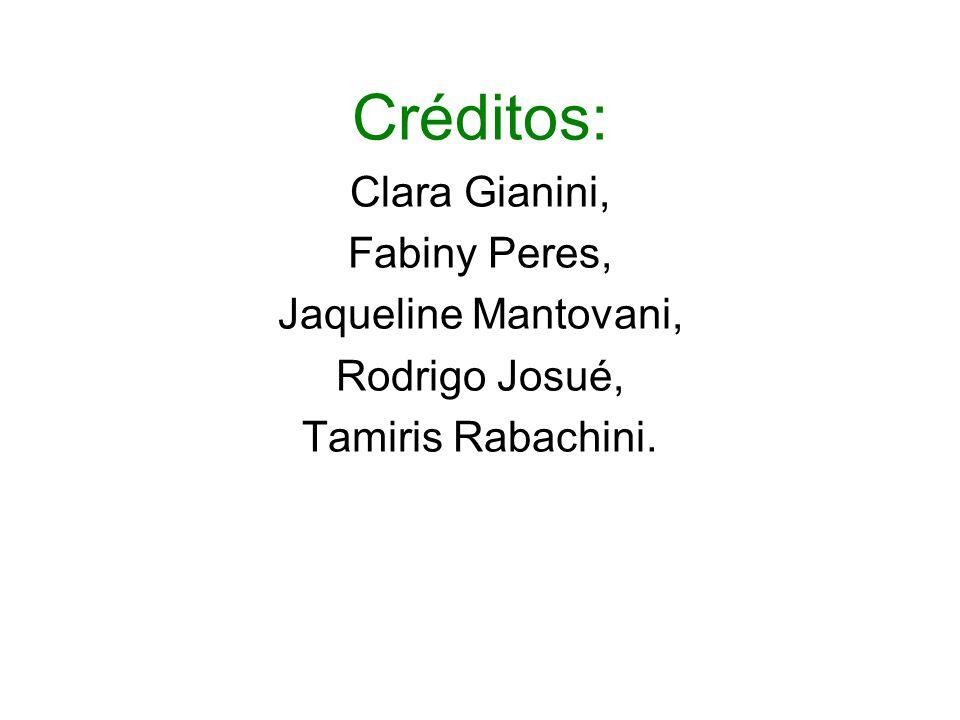 Créditos: Clara Gianini, Fabiny Peres, Jaqueline Mantovani, Rodrigo Josué, Tamiris Rabachini.