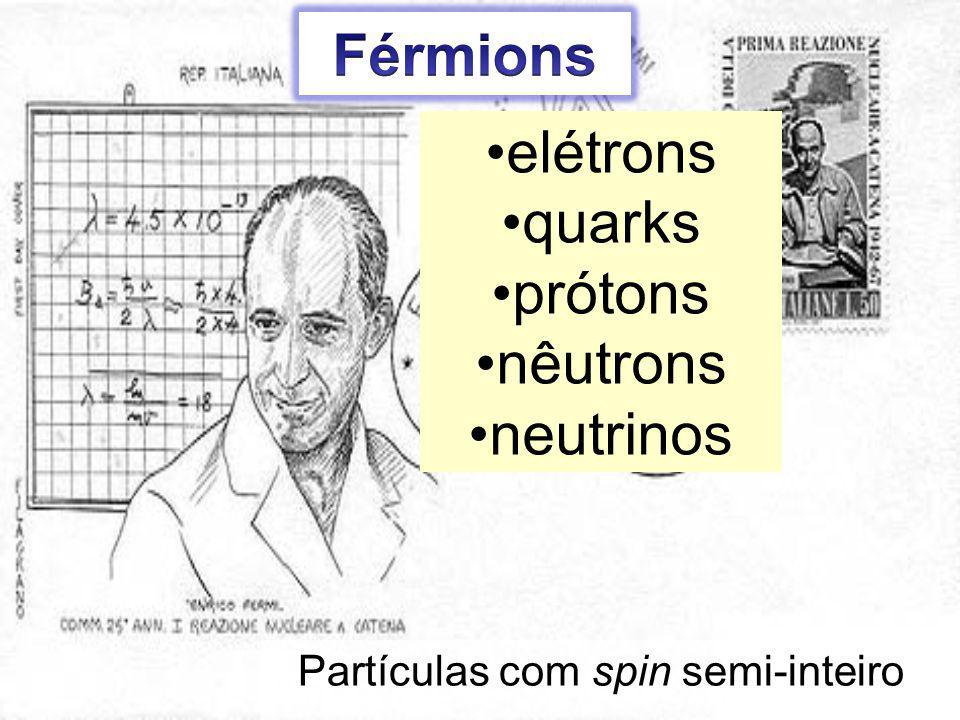 Partículas com spin semi-inteiro elétrons quarks prótons nêutrons neutrinos