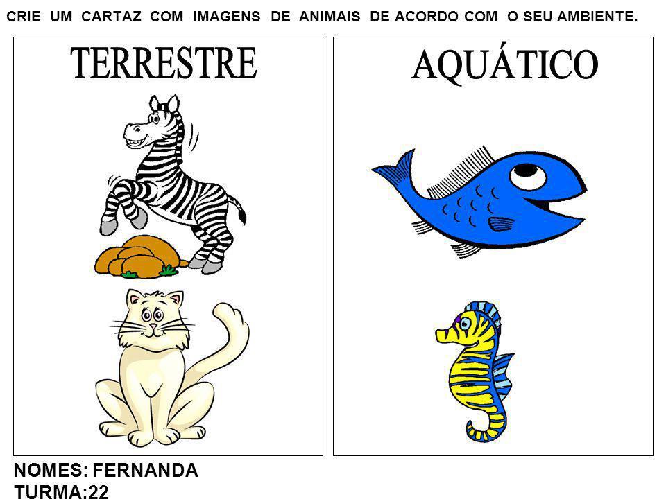 CRIE UM CARTAZ COM IMAGENS DE ANIMAIS DE ACORDO COM O SEU AMBIENTE. NOMES: FERNANDA TURMA:22
