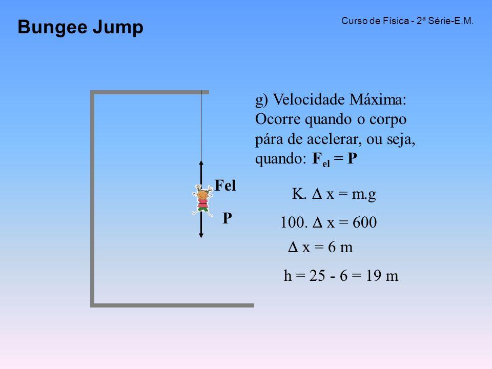 Bungee Jump Curso de Física - 2ª Série-E.M. Fel P g) Velocidade Máxima: Ocorre quando o corpo pára de acelerar, ou seja, quando: F el = P K. x = m.g 1