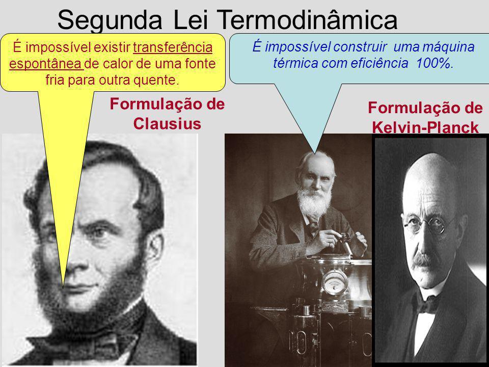 Segunda Lei Termodinâmica Formulação de Clausius Formulação de Kelvin-Planck É impossível existir transferência espontânea de calor de uma fonte fria