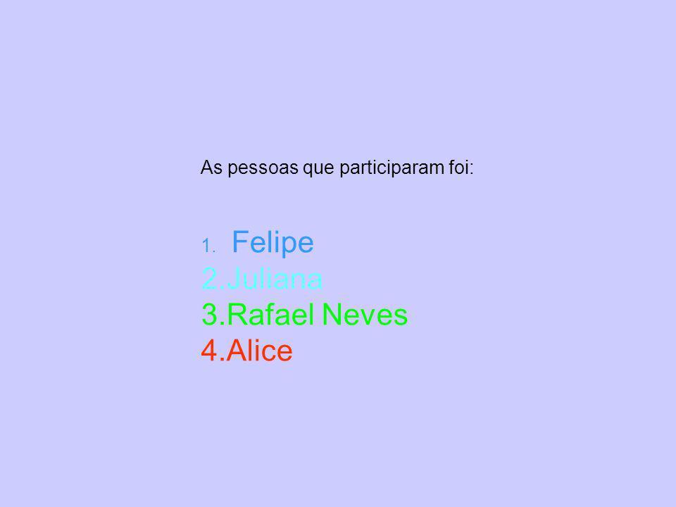 As pessoas que participaram foi: 1. Felipe 2.Juliana 3.Rafael Neves 4.Alice