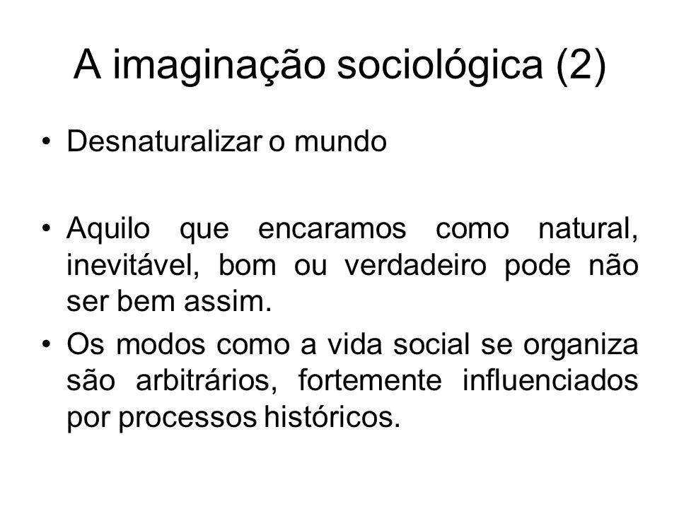 A imaginação sociológica (2) Desnaturalizar o mundo Aquilo que encaramos como natural, inevitável, bom ou verdadeiro pode não ser bem assim. Os modos