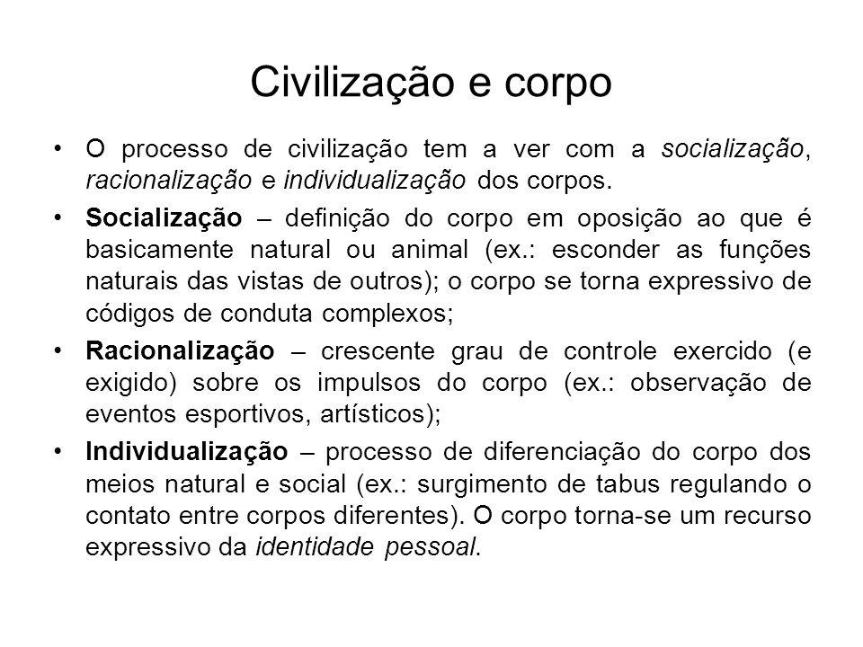 Civilização e corpo O processo de civilização tem a ver com a socialização, racionalização e individualização dos corpos. Socialização – definição do