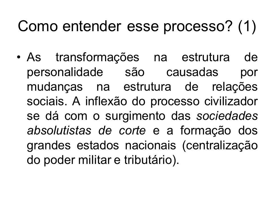 Como entender esse processo? (1) As transformações na estrutura de personalidade são causadas por mudanças na estrutura de relações sociais. A inflexã