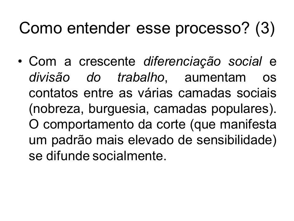 Como entender esse processo? (3) Com a crescente diferenciação social e divisão do trabalho, aumentam os contatos entre as várias camadas sociais (nob