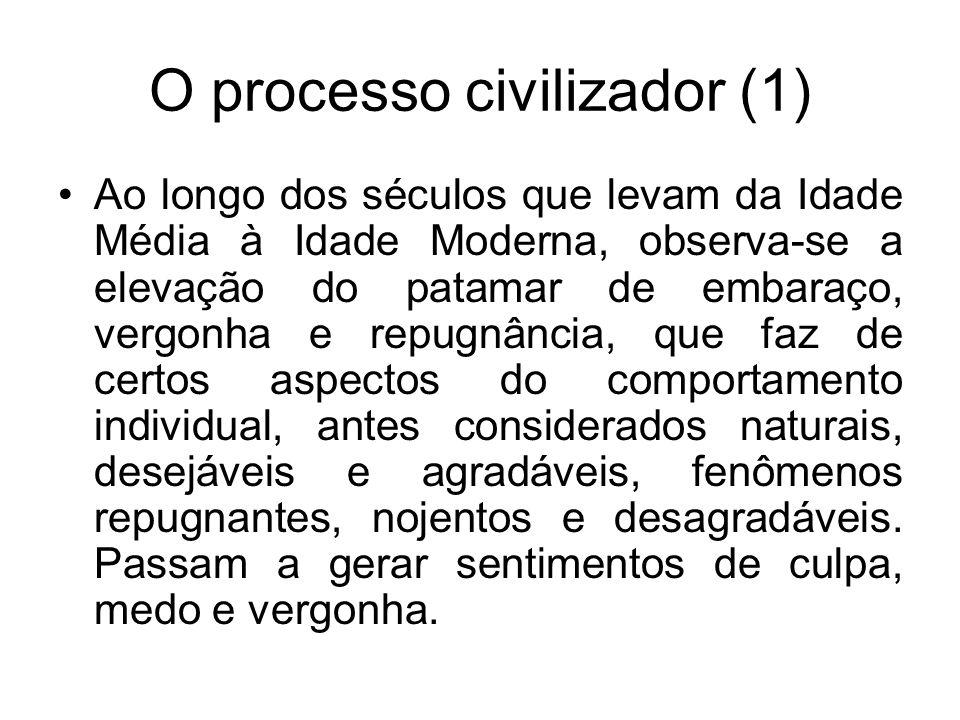 O processo civilizador (1) Ao longo dos séculos que levam da Idade Média à Idade Moderna, observa-se a elevação do patamar de embaraço, vergonha e rep