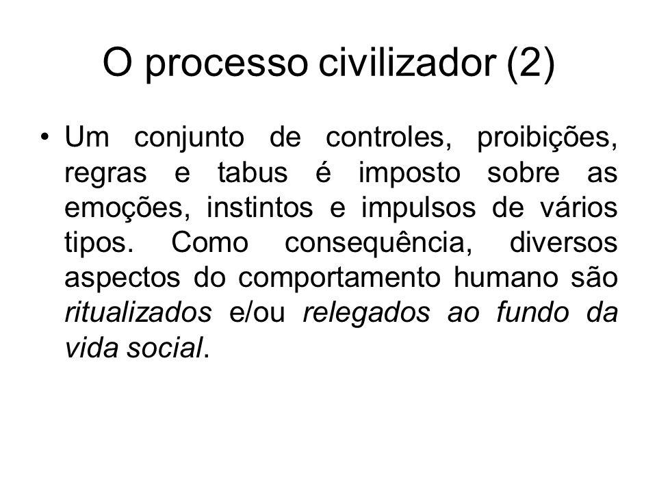 O processo civilizador (2) Um conjunto de controles, proibições, regras e tabus é imposto sobre as emoções, instintos e impulsos de vários tipos. Como