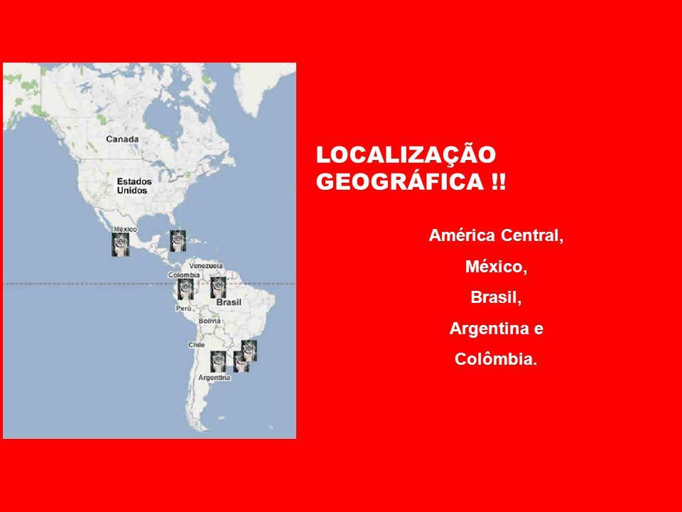 LOCALIZAÇÃO GEOGRÁFICA !! América Central, México, Brasil, Argentina e Colômbia.