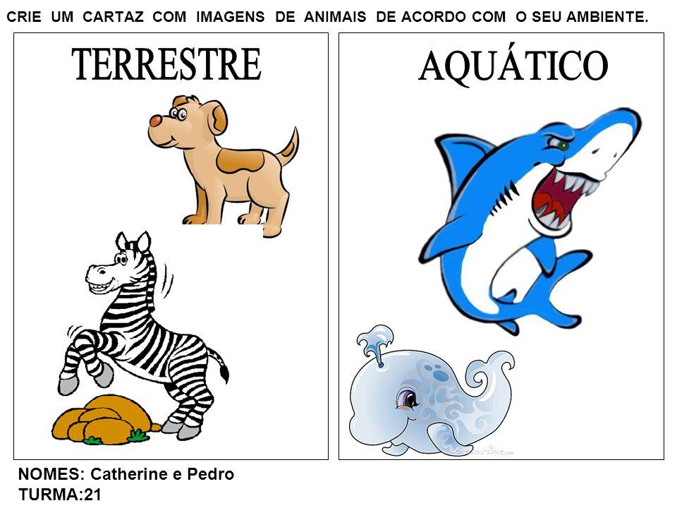 CRIE UM CARTAZ COM IMAGENS DE ANIMAIS DE ACORDO COM O SEU AMBIENTE. NOMES: Catherine e Pedro TURMA:21