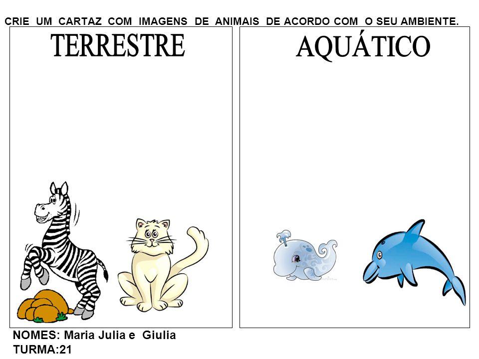 CRIE UM CARTAZ COM IMAGENS DE ANIMAIS DE ACORDO COM O SEU AMBIENTE. NOMES: Maria Julia e Giulia TURMA:21