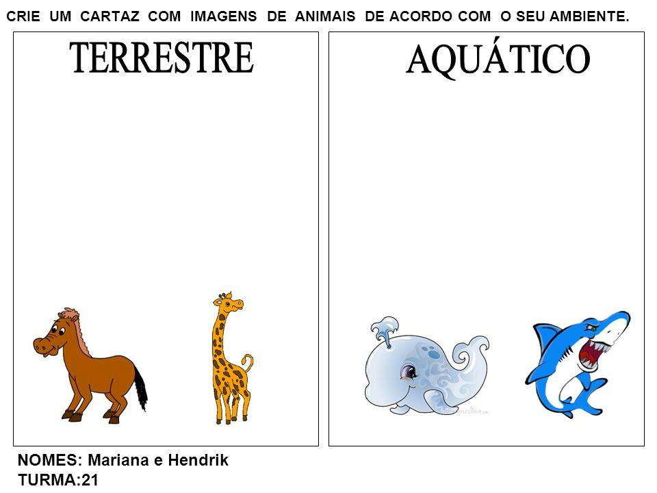 CRIE UM CARTAZ COM IMAGENS DE ANIMAIS DE ACORDO COM O SEU AMBIENTE. NOMES: Mariana e Hendrik TURMA:21