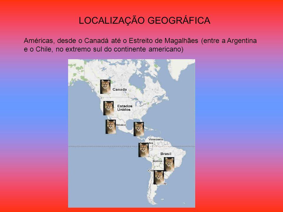 LOCALIZAÇÃO GEOGRÁFICA Américas, desde o Canadá até o Estreito de Magalhães (entre a Argentina e o Chile, no extremo sul do continente americano)