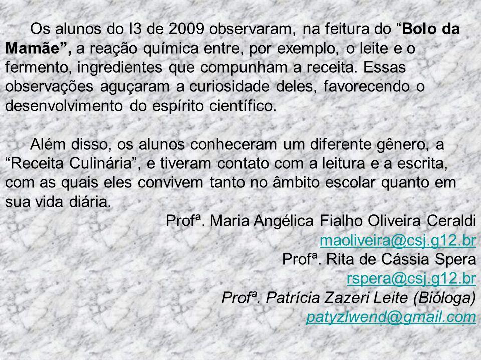 Os alunos do I3 de 2009 observaram, na feitura do Bolo da Mamãe, a reação química entre, por exemplo, o leite e o fermento, ingredientes que compunham
