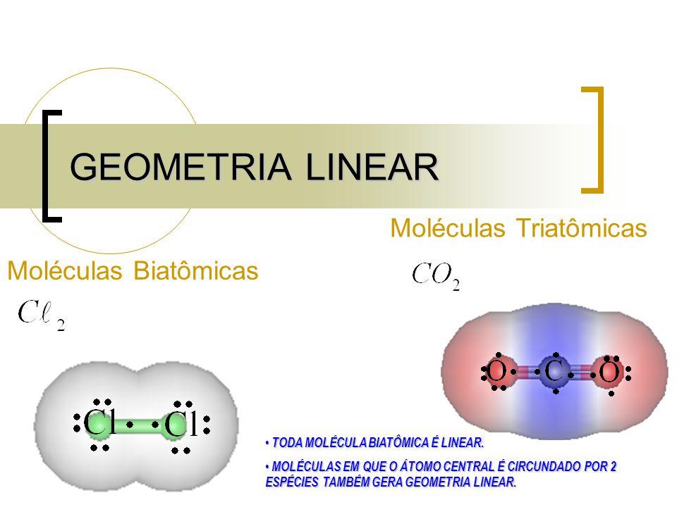 GEOMETRIA LINEAR Moléculas Biatômicas Moléculas Triatômicas TODA MOLÉCULA BIATÔMICA É LINEAR.