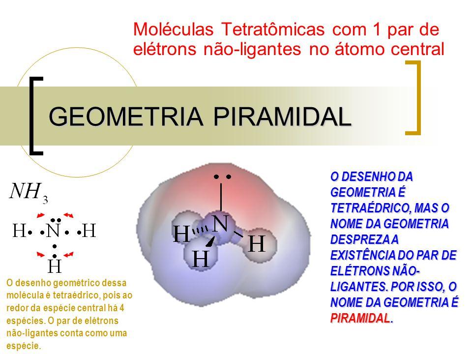 GEOMETRIA PIRAMIDAL Moléculas Tetratômicas com 1 par de elétrons não-ligantes no átomo central O DESENHO DA GEOMETRIA É TETRAÉDRICO, MAS O NOME DA GEOMETRIA DESPREZA A EXISTÊNCIA DO PAR DE ELÉTRONS NÃO- LIGANTES.