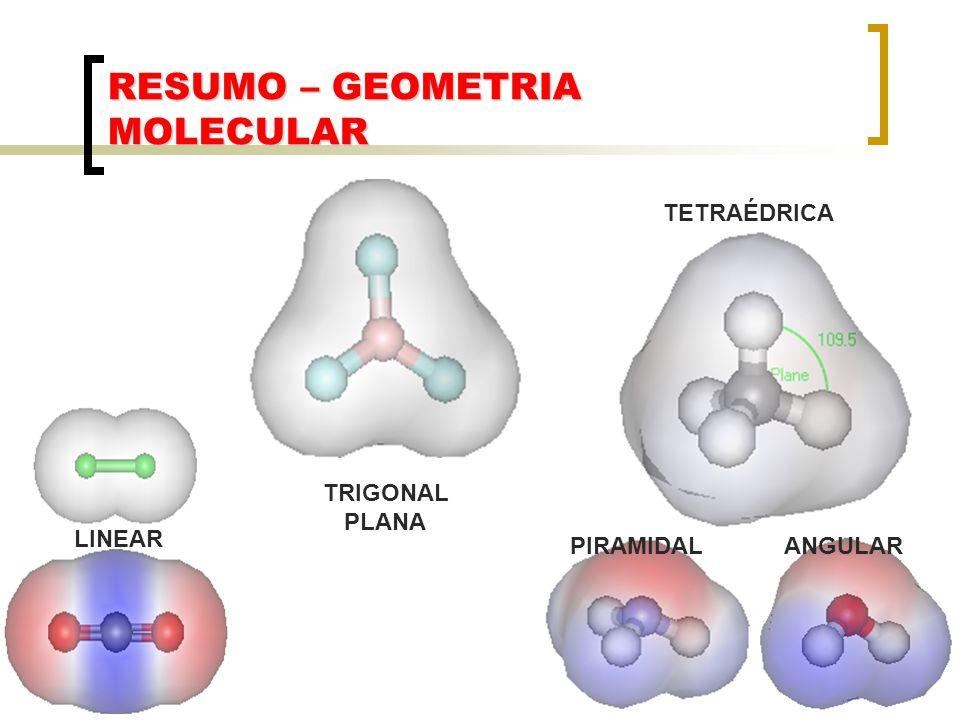 RESUMO – GEOMETRIA MOLECULAR LINEAR TRIGONAL PLANA TETRAÉDRICA PIRAMIDALANGULAR