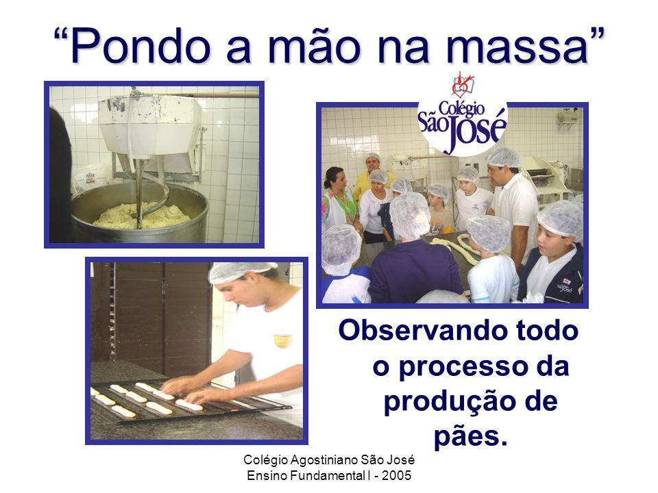 Colégio Agostiniano São José Ensino Fundamental I - 2005 Pondo a mão na massa Observando todo o processo da produção de pães.